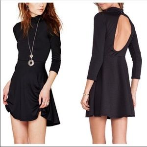 Free People Dress Black Fit & Flare Keyhole Back